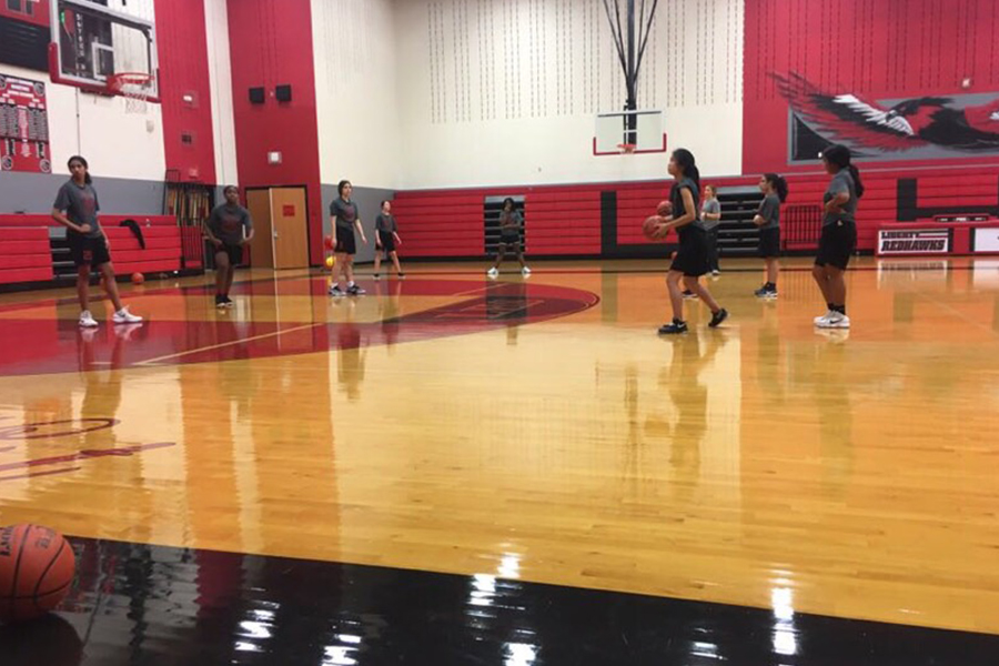 The first official practice for the girls basketball team was Wednesday October 17. The girls kick off the season with a scrimmage against Prosper on Monday, October 29th.