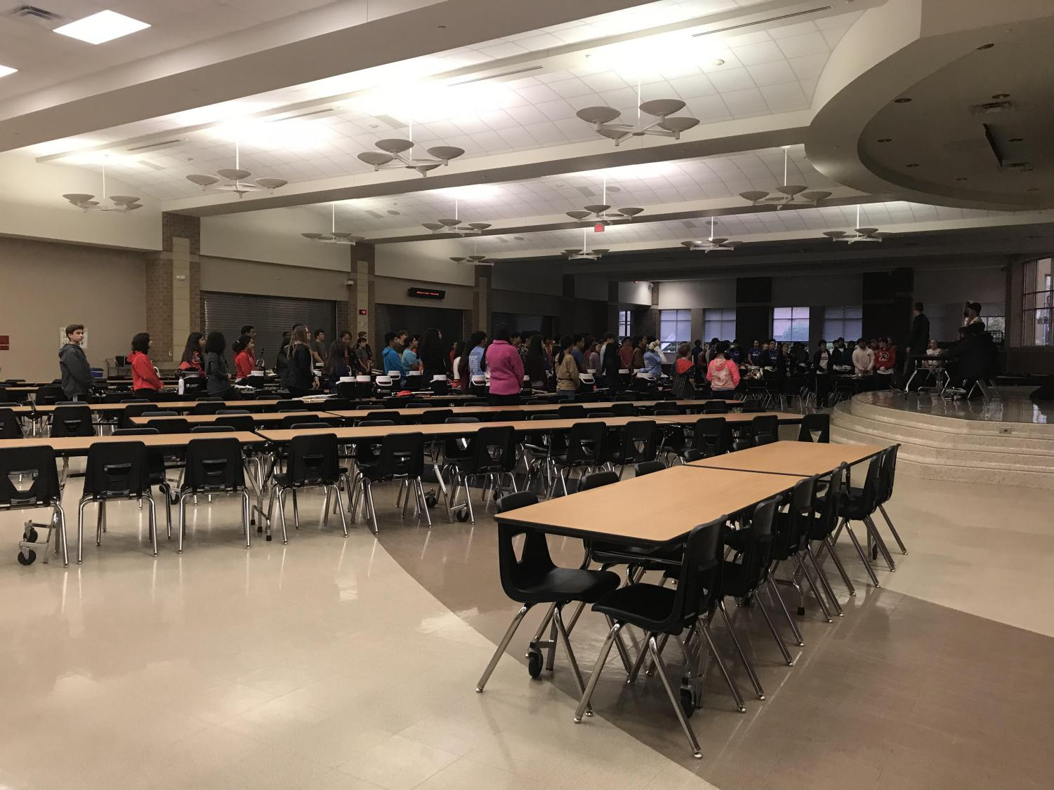 Band was forced to relocate their practice after school on Monday into the cafeteria due to harsh weather conditions outside as well as limited space on campus.