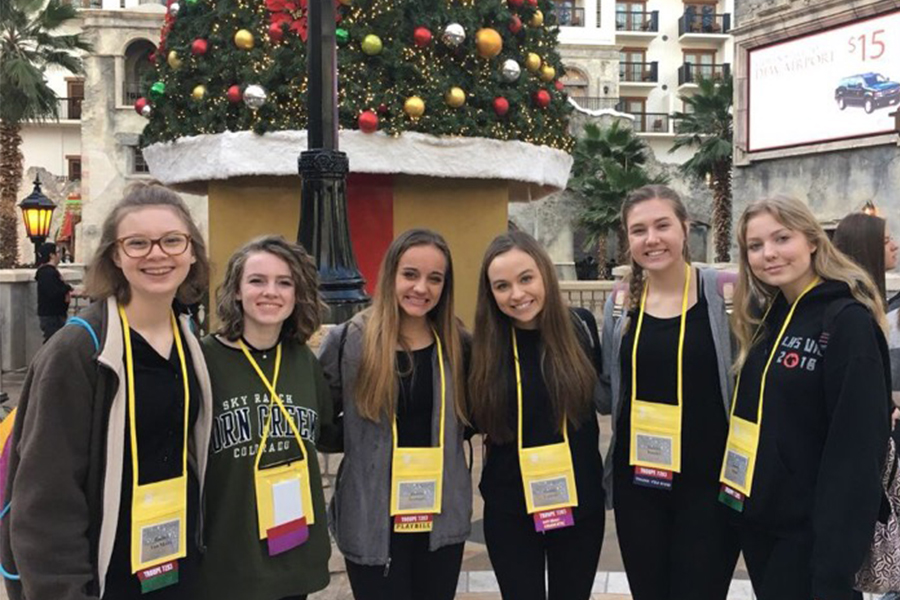 Junior Rachel Vanmeter, junior Emily Degarmo, junior Amelia Jauregui, junior Natalie Guerra, junior Natalie Brooks, and junior Lauren Head (left to right) attended the annual Texas Thespian Festival to perform, take workshops from professionals in the theatre industry, and celebrate theatre.