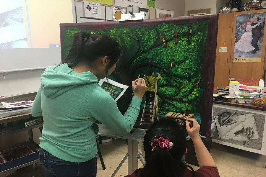 National Art Honor Society fulfills a request by assistant principle Jason Harris by recreating the cover of the book Leaf By Niggle by J.R.R Tolkien to be hung in his office. Harris utilizes the painting as a reminder of the overall purpose of his job: To build relationships with students.