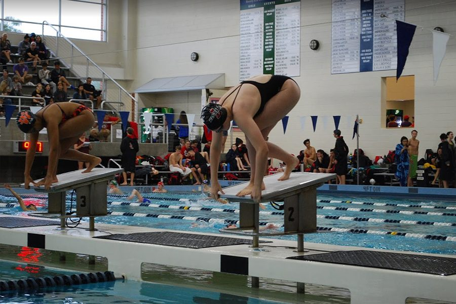 Setting+a+new+school+record+in+the+50+freestyle%2C+sophomore+Mallory+Showalter+gets+ready+to+leave+the+start+blocks+in+the+North+Texas+5A+TISCA+Invitational+Friday+and+Saturday+at+the+Bruce+Eubanks+Natatorium.+Showalter+finished+with+a+time+of+24.77%2C+finishing+less+than+a+second+and+a+half+away+from+setting+a+new+district+record.%0A