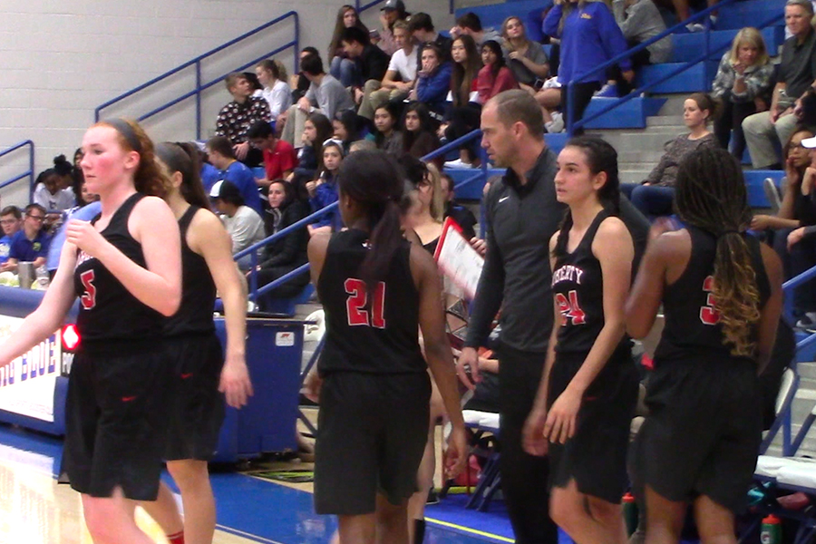 The girls' basketball team beat the Frisco Raccoons 60-17 on Tuesday night, bringing their District 9-5A record to 3-0.