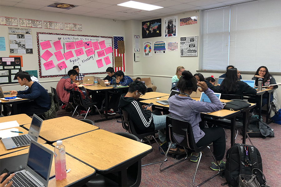 AP government students worked on their campaign letters. The project was introduced by Collegeboard to the new curriculum.