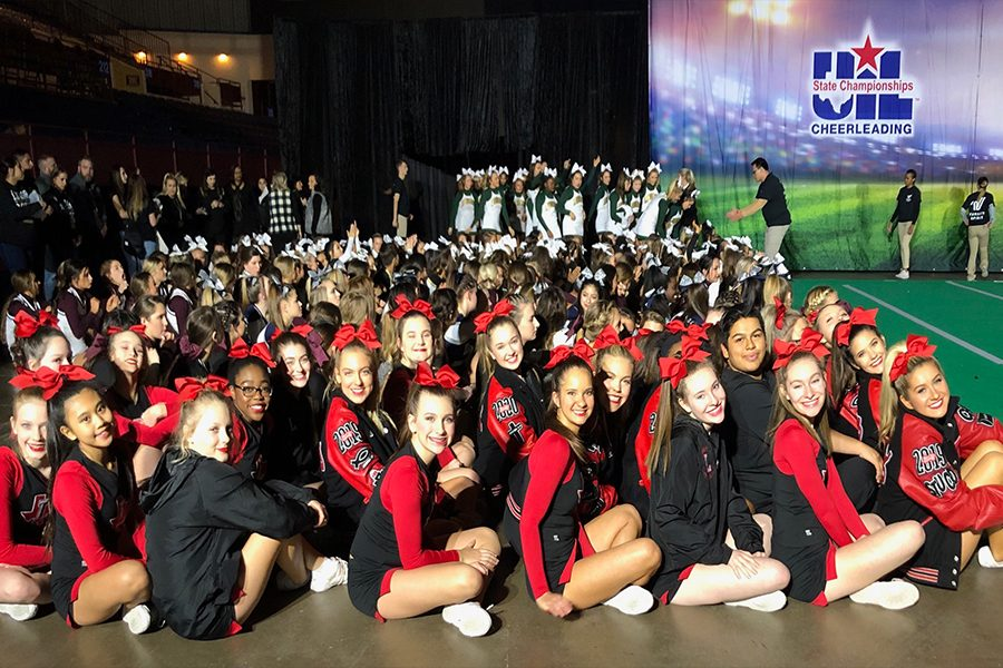 In+its+first+year+competing+in+the+UIL+Spirit+State+Championships%2C+the+Redhawks+finished+in+18th+place+out+of+55+5A+Division+1+teams.+The+competition+took+place+Jan.+17-19+at+the+Fort+Worth+Convention+Center.+
