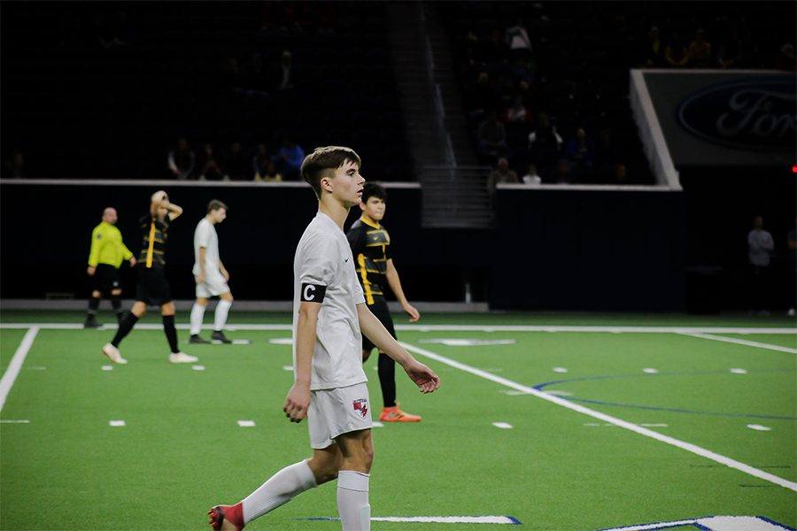 Senior and captain Gavin Clark looks ahead at his teammates at a game against the Warriors at the Ford Center at The Star on Friday January 11th.