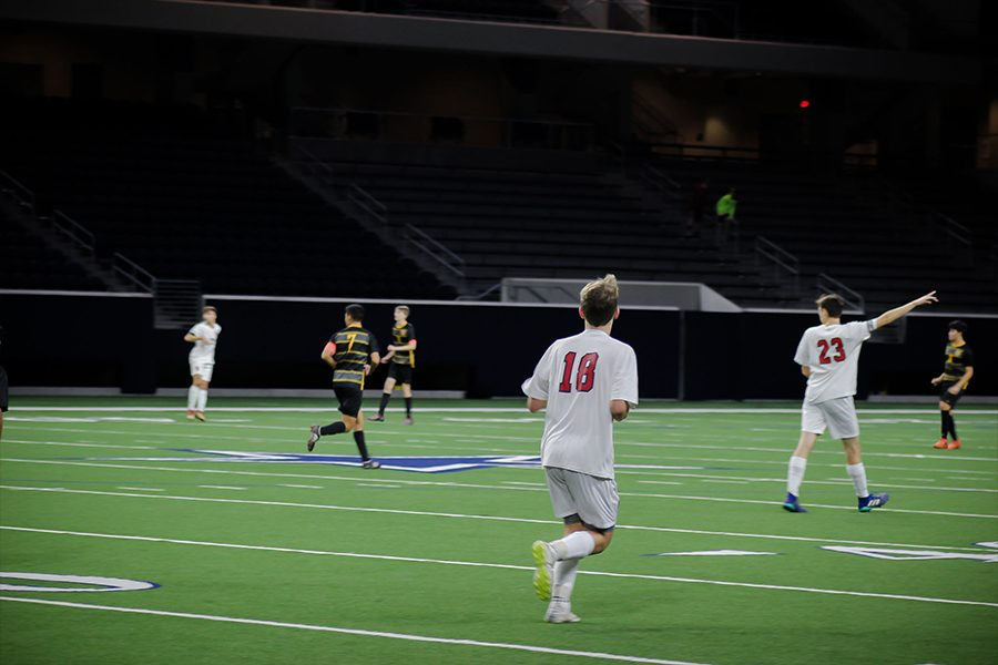 Senior and captain Madison Hernandez (23) points Redhawks towards the Warriors end on Friday January, 11th at the Ford Center at The Star.
