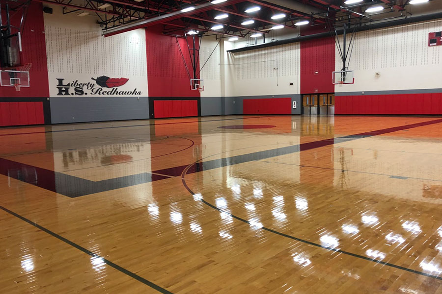 With the gym filled with volleyball, basketball, and various athletic groups throughout the year, fourth period PE struggles to find a place to work out. This leaves PE to switch locations almost every period to accommodate for the gym's busy schedule.