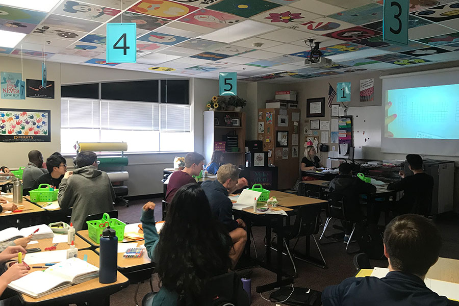Teaching a Pre Calculus class, teacher Amber Bennett finishes her last semester in a 6 week marking period as Frisco ISD moves towards 9 weeks for the 2019-2020 school year. Receiving mixed responses regarding the change, students and staff look for a less stressful marking period in the following years.