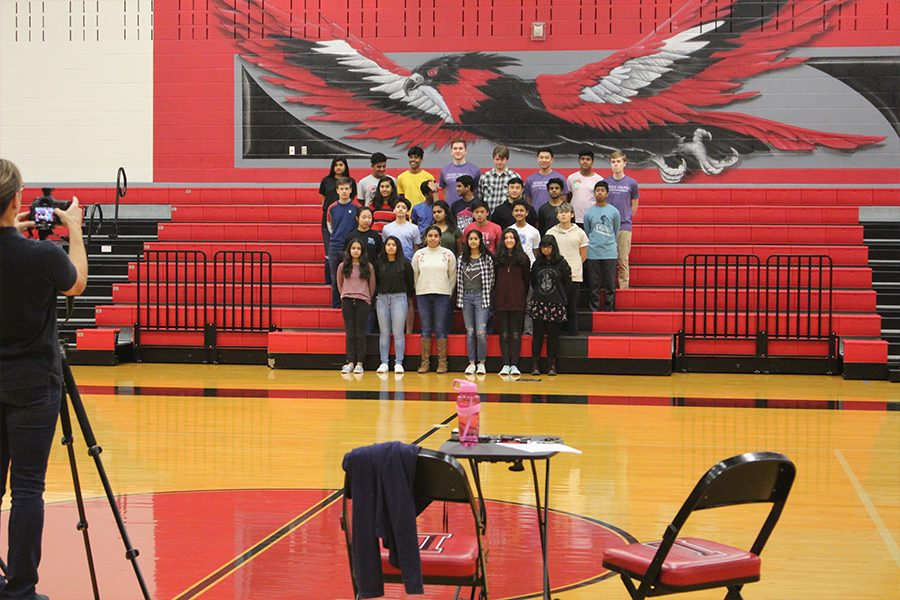 Arranged by height on the visitors side of The Nest, every club and organization on campus took their turn getting their yearbook picture taken on Wednesday, Jan. 16, 2019.