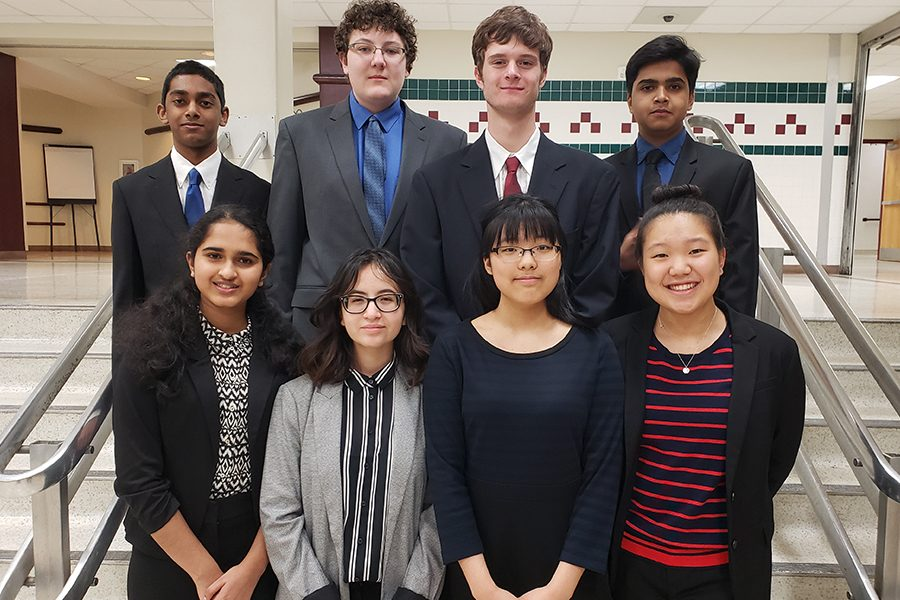 Junior+Andrew+Sen%2C+sophomore+Ethan+Walker%2C+junior+Jackson+Hawk%2C+senior+Nihar+Degaonkar%2C+sophomore+Thrisha+Malireddy%2C+sophomore+Sofia+Calderon%2C+sophomore+Ella+Gong%2C+and+junior+Chelsea+Kang+pose+for+a+picture+at+the+Academic+Decathlon+region+competition+on+Friday+and+Saturday+at+McKinney+High+School.