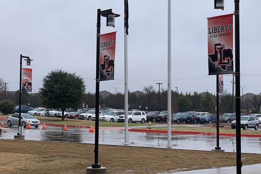 The light posts in front of the school don new school spirit banners. The school hopes the new additions will improve the appearance of the school and raise school spirit.