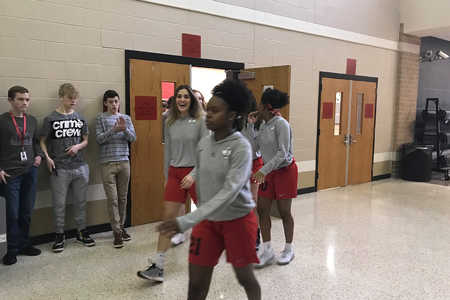 The girls' team was sent off to state on Wednesday morning with students and staff cheering them on as they left.