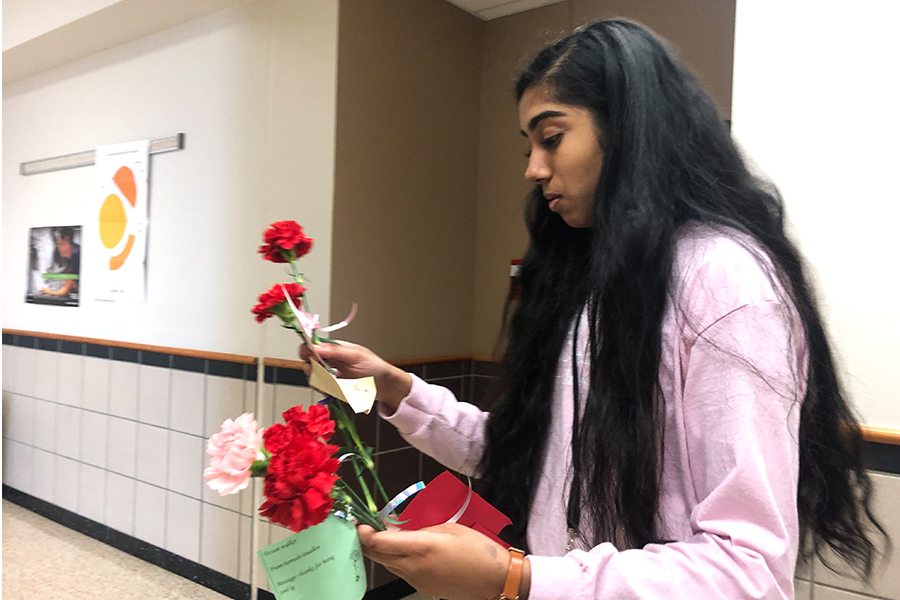 Key Club President Saahithi Joopelli delivers carnations to students. All sales money will be doubled by Key Club and donated to UNICEF.