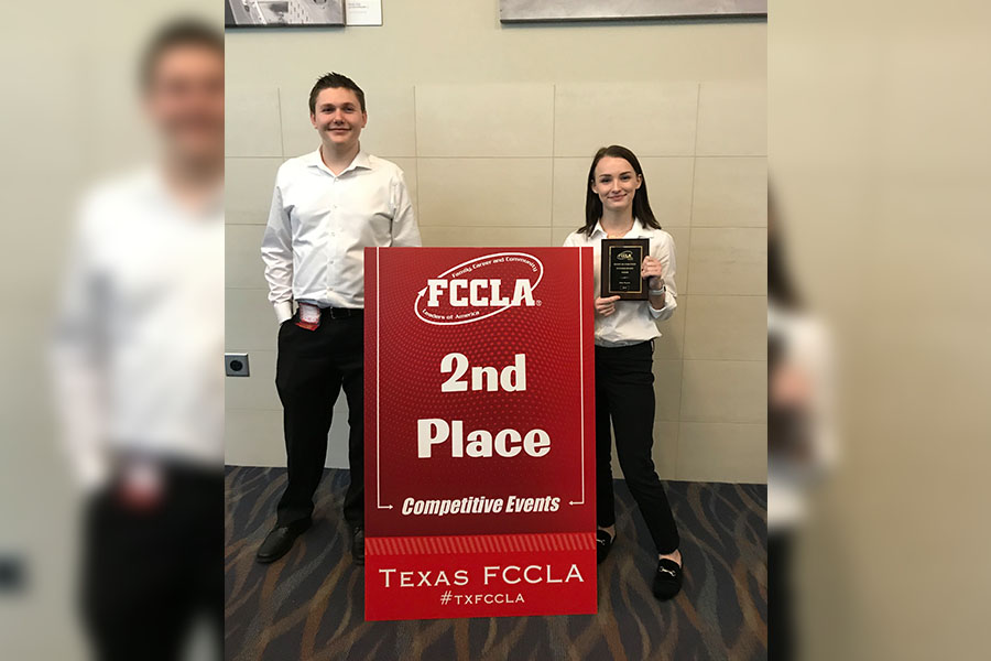 "Attending the Family, Career and Community Leaders of America in Waco, junior Meghan Champagne and junior Carson Caruso placed second out of ten teams with their project, ""The Crystal Water Resort"" in Interior Design."