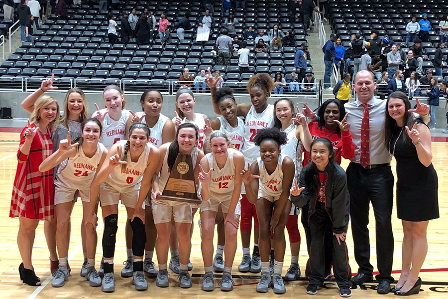 Facing off against District 9-5A rival Lone Star for the 3rd time in the 2018-19 season, the Redhawks and Rangers took to the court in Garland for the 5A Region II final, with the winner advancing to the state tournament.   Trailing by three with seven seconds left, senior Randi Thompson hit a long 3 pointer to send the game into overtime where the Redhawks would prevail 43-39.