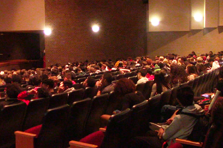 Student athletes filled the auditorium Friday during advisory for the school's first sports seminar featuring guest speaker, sports medicine doctor Troy Smurawa. Scheduled for the first Friday of each month, a different topic will be discussed each month with vaping the focus of the first seminar.