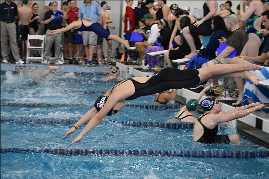Seven Redhawk swimmers are vying for a trip to the state meet at the 5A Region II swim meet Friday and Saturday at the Bruce Eubanks Natatorium in Frisco.  The girls' team has two relays that enter the meet seeded first and second, with the swimmers working on leaving the blocks, and exchanges in the effort to shave anywhere from milliseconds to seconds off their time.