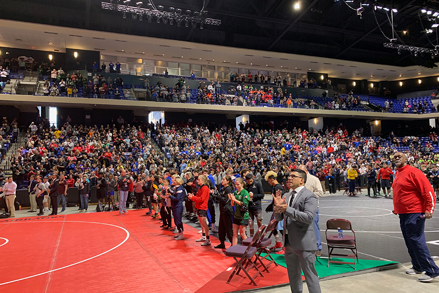 The+crowd+cheers+on+the+high+schoolers+as+they+compete+for+the+state+title+on+Friday+and+Saturday.
