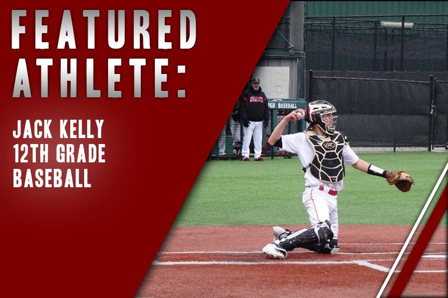Passing a ball to the pitcher, senior Jack Kelly enters his final season playing baseball as a Redhawk. Building bonds with teammates is a big part of what being on the team means to the catcher.