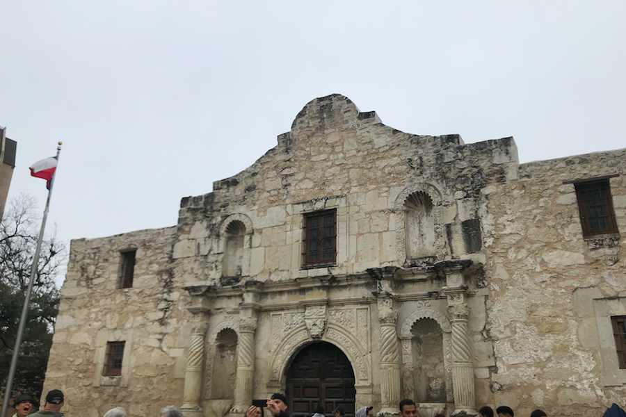 The Alamo in San Antonio hosts the annual Texas Independence Day Ceremony on March 2, 2019 at 12:30 remembering the soldiers and their families.