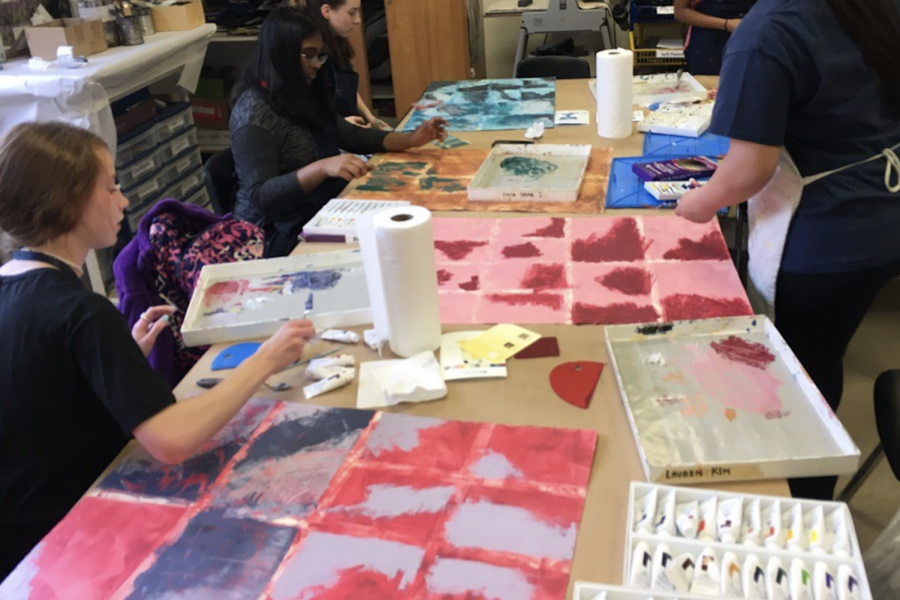 AP art students practice working with cold wax. The new medium can add to the students portfolios and add texture.