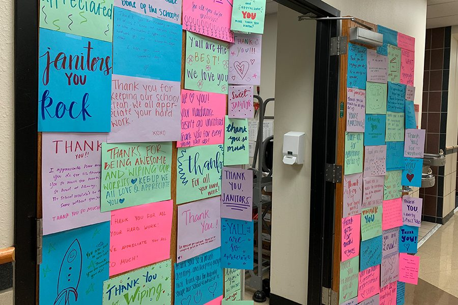 Taping the cards on the custodian door during third period on Thursday, March 28, 2019, students gathered together to show appreciation for the custodians. Making the thank you cards in the lecture hall, Student Council provided snacks and drinks to participants.