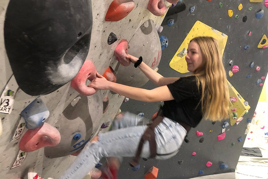 As part of what the Texas Parks and Wildlife said, freshman Sarah Head got the chance to implement her skills in Outdoor Education as they rock climbed.