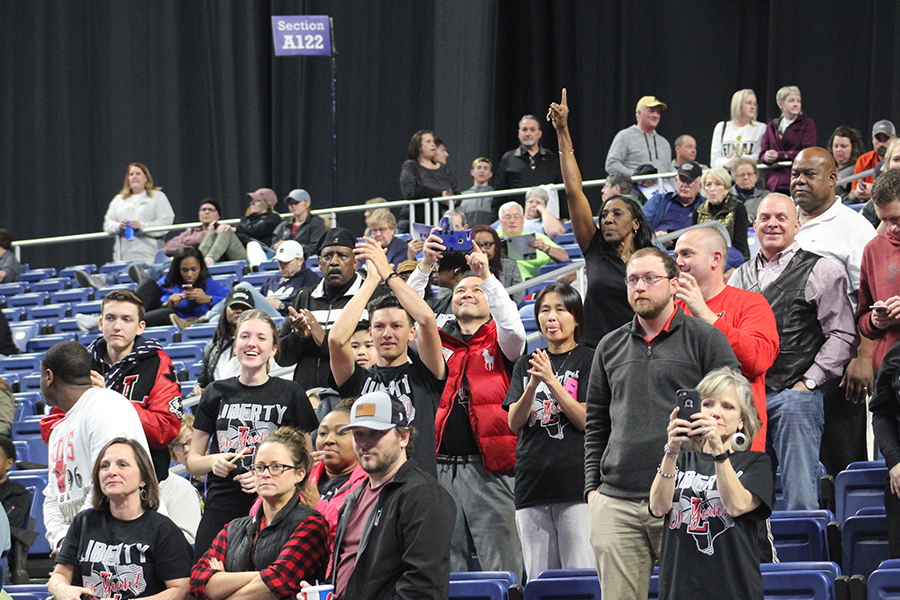 Redhawks+fans+celebrate+as+the+final+seconds+tick+off+the+clock+in+the+team%27s+34-28+state+semifinal+win+over+Kerrville+Tivy+in+the+Alamodome+on+Thursday%2C+Feb.+28%2C+2019.+The+team+is+back+in+action+Saturday+against+Amarillo+in+the+5A+championship+game.+