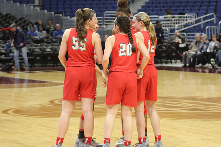 Taking+the+court+at+the+Alamodome+on+Thursday%2C+Feb.+28%2C+2019+in+the+5A+state+semifinal%2C+starters%3A+Randi+Thompson%2C+Mara+Casey%2C+Kelsey+Kurak%2C+MacKenzie+Glover%2C+and+Kailyn+Lay+get+ready+to+take+on+the+Kerrville+Tivy+Antlers.+The+Redhawks+would+go+on+to+win+34-28%2C+advancing+to+Saturday%27s+championship.