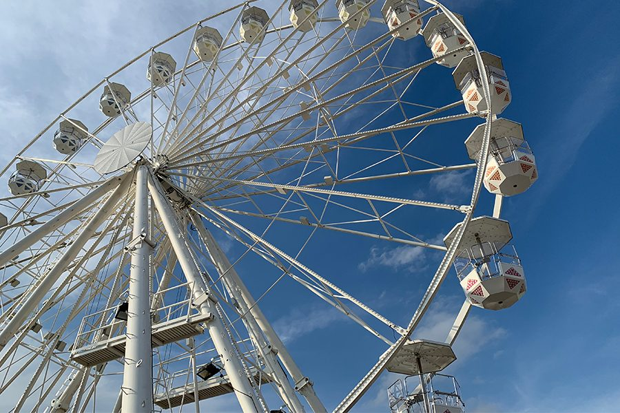 The Giant Wheel, located at the Frisco Fair, stands 108 feet tall and can hold up to 144 people per cycle. The ferris wheel is fairly new, as it was manufactured in 2018 by Reuzenradbouw Lamberink B.V. Nederland.