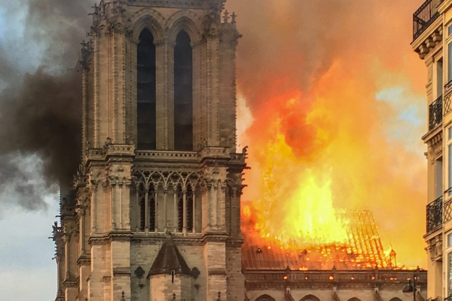 Fire+engulfed+Notre+Dame+Cathedral+in+Paris+at+approximately+11%3A30+a.m.+CST.+Early+damage+reports+suggest+as+much+as+two-thirds+of+the+roof+has+been+destroyed+but+its+two+front+towers+appear+to+have+been+saved.+The+cathedral%27s+wooden+frame+dates+from+the+year+1220%2C+with+some+of+trees+making+up+the+frame+cut+down+between+1160+and+1170.+Construction+of+Notre+Dame+began+in+1163.+%0A%0A%0A