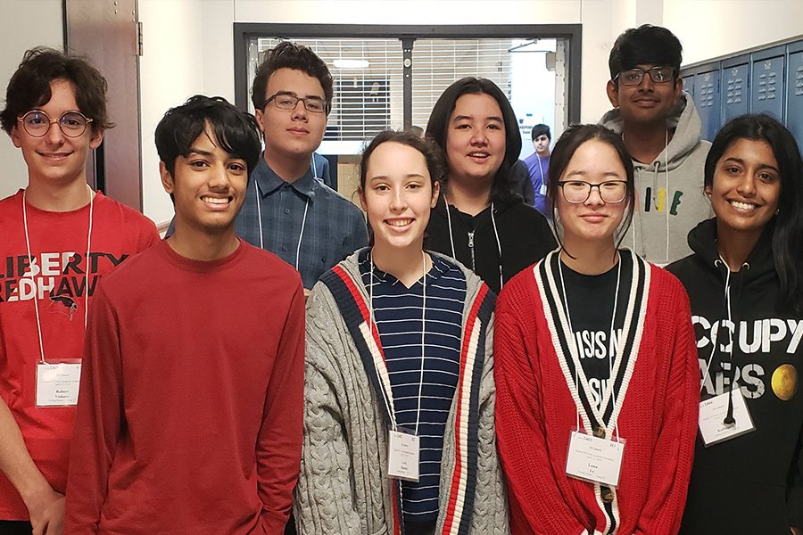 Academic Octathlon students pose for a picture at competition this past weekend at Wakeland High School. The Redhawk team met its goal with a top ten finish.
