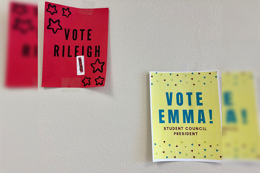 Campaigning for StuCo, the candidates have posters all over school. Two female students are running for the student council presidency for the first time in four years.