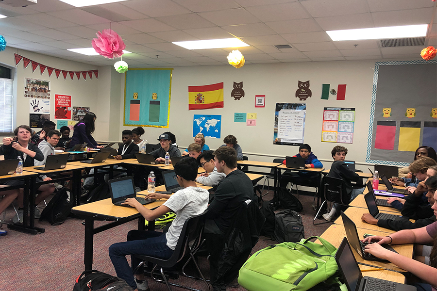 "Spanish 2 Pre-AP classes are learning about the culture through music and dances. ""We have a special theme where they make a real world connection toward it,"" Spanish teacher Patricia Flores said."