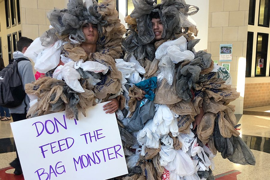 AP Environmental Science students dress in plastic bags as Bag Monsters showing students the extent to which plastic bags harm the earth.