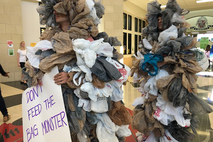Friday+morning%2C+bag+monsters+filled+the+atrium+to+bring+awareness+to+students+and+staff+about+the+dangers+of+plastic+bags.+