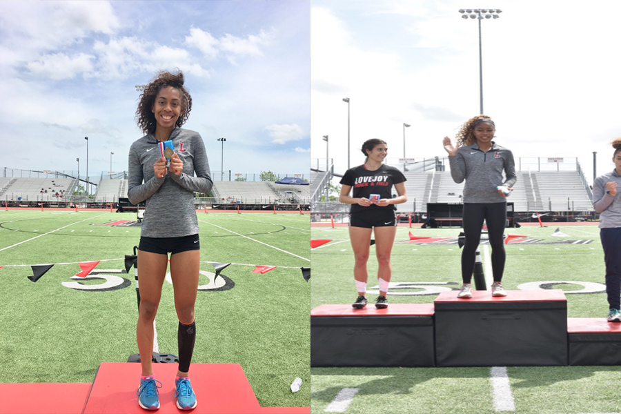 "Several Redhawk track and field athletes advanced to 5A Region II meet. Senior Sanye Ford (left) took 1st place in the long jump with a PR of 19' 1.5"" at Tuesday's Area Meet and senior Nissi Kabongo took first in the high jump."