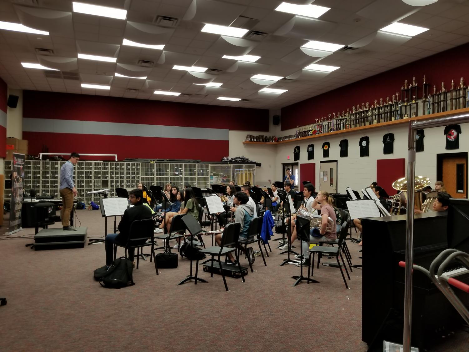 Band students rehearse for their final concert scheduled into two weeks. Last week band students worked with incoming eighth graders to give them an insight into daily work of band students.