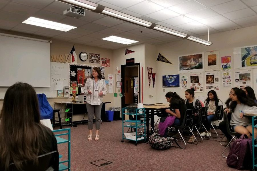 District Board of Trustees member Debbie Gillespie (Place 5) speaks to the campus Youth and Government club about her work as a board member. Students then had to ask her questions about her thoughts on education legislation just three days before the board election on Saturday.