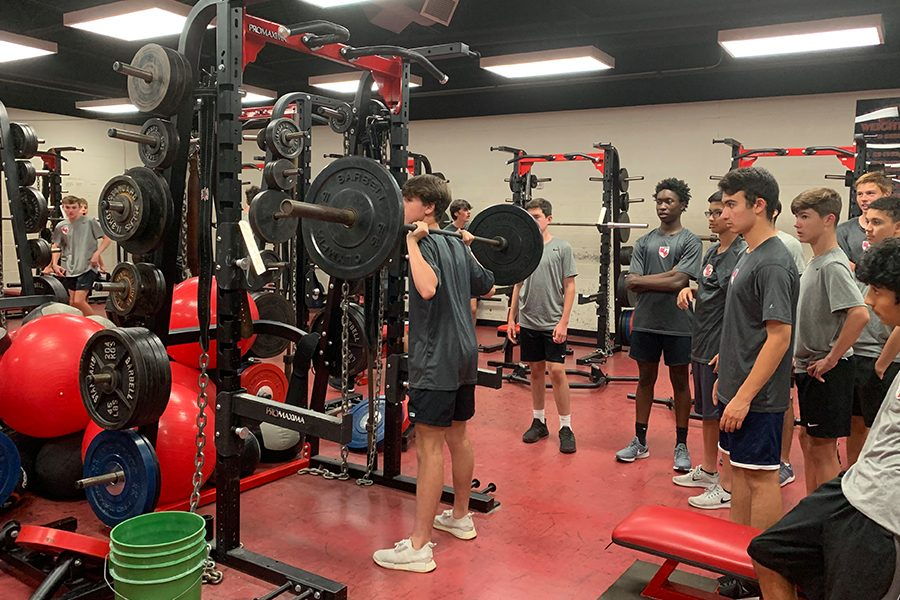 """Although season is over, soccer hits the weight room to prepare for the 2019-20 season. """"It's important to keep training because we still need to grow as a program and set new goals for the year to come,"""" Chladny said."""