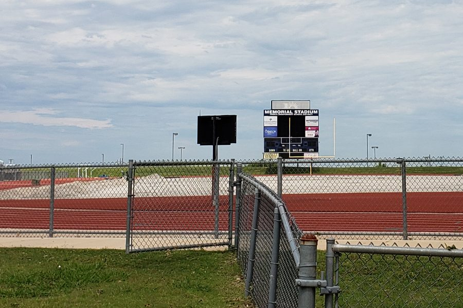 Before laying down the new turf, work crews had to pull up the old turf and resurface the area below the playing field. The work which was funded by the 2018 bond election, took several months to complete and will see its first action Friday night when the Redhawks host North Garland.