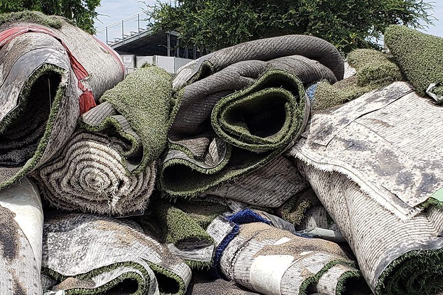 Rolls of the old turf at Memorial Stadium sat in the east parking lot during the turf replacement process that took place this summer. The project took months to complete and was finished in plenty of time for its 2019 debut when the Redhawks host North Garland. The new turf was funded by the 2018 bond approved by voters.