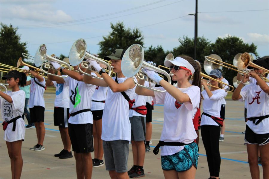 Competing in the Little Elm Classic on Saturday, the Redhawk marching band placed fourth in preliminaries, sixth in finals and received outstanding in auxiliary.  The band is back in action Tuesday as part of the Frisco ISD Marching Band Showcase at the Ford Center form 7-9:30 p.m.