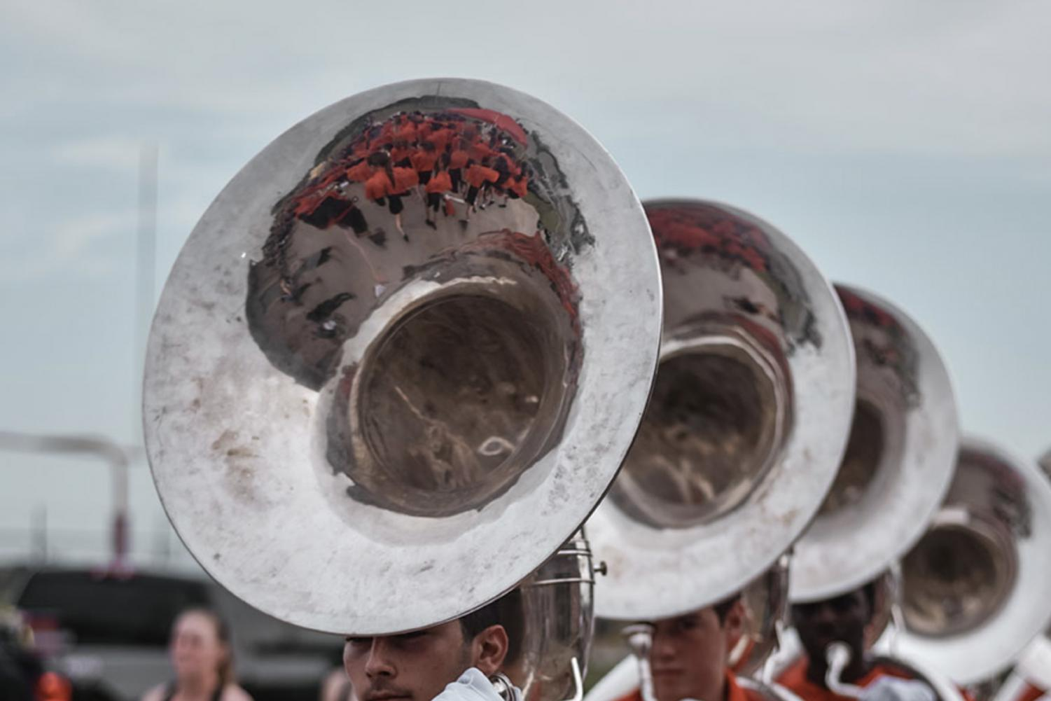 Marching band students rehearse in preparation for football games and their marching season performance. Below is a list of fall events for campus fine arts programs.
