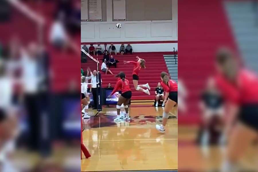 The+Redhawks+get+ready+to+spike+the+ball+in+a+game+against+Grapevine.+The+Redhawks+came+out+on+top+of+Wakeland+ahead+of+their+game+against+Reedy+on+Tuesday.