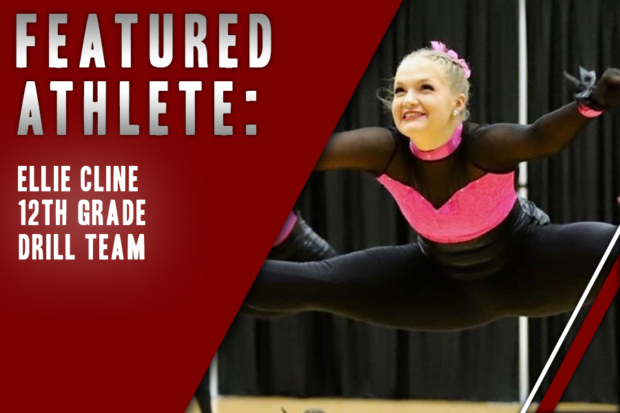 Senior Ellie Cline, captain of Red Rhythm, dances during a performance. After being a ballerina for several years, Cline decided to join drill team as a way for her to get more involved in the school while pursuing her passion for dance.