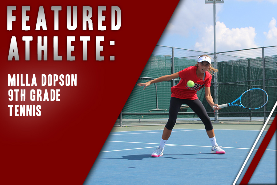 Freshman Milla Dopson is a fresh face on the varsity tennis team. The sport runs in the family for Dopson who is looking to climb the state ranks throughout high school.
