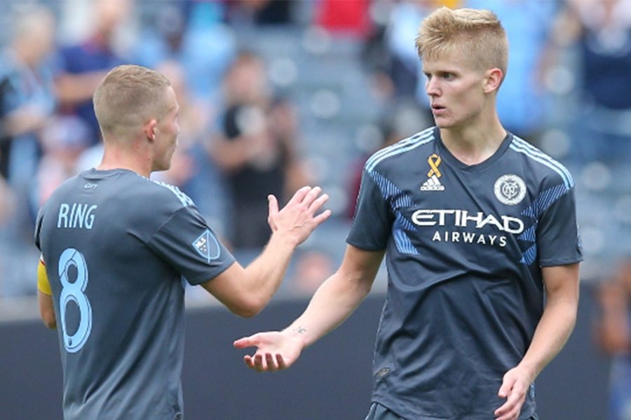 Former+Redhawk+and+current+New+York+City+FC+midfielder+Keaton+Parks+%2855%29+celebrates+his+goal+against+the+San+Jose+Earthquakes+with+midfielder+Alexander+Ring+%288%29+during+the+first+half+at+Yankee+Stadium.+Parks+and+his+NYCFC+team+will+be+in+Frisco+Sunday+when+they+take+on+FC+Dallas+at+Toyota+Stadium.+