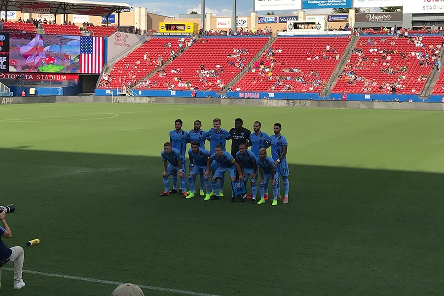 Posing for a team picture before the match, NYC FC prepares for the game against FC Dallas at Toyota Stadium on Sunday, Sept. 22, 2019.