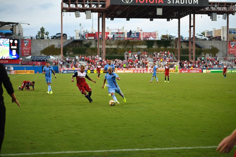 Toyota Stadium hosted a match between NYC FC and FC Dallas on Sunday, Sept. 22, 2019. NYC FC midfielder and former Redhawk Keaton Parks attracted friends, family, and former coaches from around North Texas to the game.